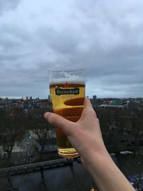 Sunday joy; We overlooked Amsterdam sipping on Heineken